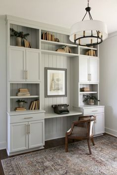 Home, Built In Cabinets, Office Built Ins, Home Office Decor, Home Office Cabinets, Cool Office Space, Dining Room Office, Basement Office, Kitchen Office