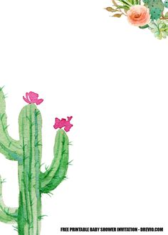 Printable Baby Shower Invitations, Baby Invitations, Baby Shower Printables, Baby Shower Parties, Baby Shower Themes, Shower Ideas, Mexican Flowers, Cactus Gifts, Baby Shower Flowers