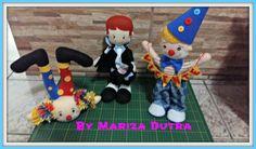 Trio de personagens circenses para mesa de aniversário infantil. Todos em feltro, com aprox. 30cm.