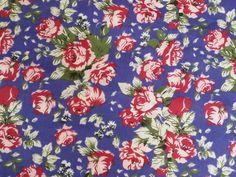 Red Roses on Royal Blue Polycotton fabric by TheFabricShopUK, £3.99