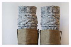 Grey Boot Cuffs Women Leg warmers  Hand knit leg by ilovemyyarn, $19.00