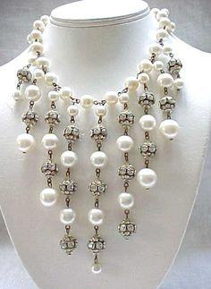 Elegant Bib Necklace Rhinestone Rondelles, Faux Pearls