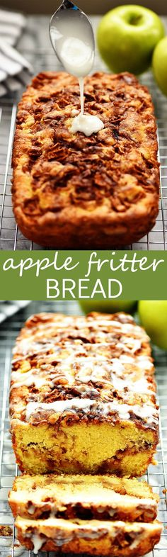 An easy homemade bread that tastes like the classic donut! An easy homemade bread that tastes like the classic donut! Köstliche Desserts, Delicious Desserts, Dessert Recipes, Yummy Food, Plated Desserts, Apple Fritter Bread, Apple Fritters, Apple Bread, Apple Recipes