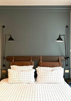 For similar shades try Green Smoke and Pigeon by Farrow & Ball and Ambleside or Windmill Lane by Little Greene. Beautiful Rooms and Strong Colours - Mad About The House Bedroom Wall Colors, Bedroom Green, Green Rooms, Bedroom Decor, Black Bedrooms, Best Interior, Interior And Exterior, Interior Design, Exterior Paint