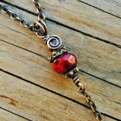 Antiqued Copper Wire Wrapped Necklace with by BearRunOriginals