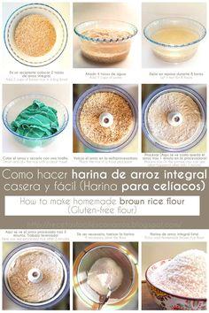 How to make brown rice flour / Gluten free flour . Como hacer harina de arroz integral casera harina sin gluten paso a paso