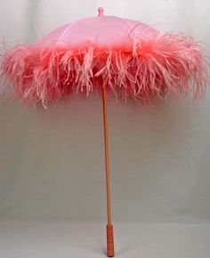 pink feathered parasol