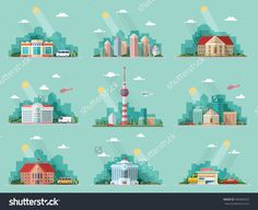 Mega Set Of Icons For Your Design. School, Town Hall, The University, Hospital…