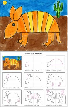 Art Projects for Kids: How to Draw an Armadillo. Print friendly PDF file available.Art Projects for Kids: How to Draw an Armadillo. Print friendly PDF file available. Drawing Lessons, Art Lessons, Drawing For Kids, Art For Kids, Drawing Art, Drawing Animals, Desert Animals, Kids Animals, Animal Art Projects