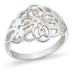 Natures Jewelry Sterling Silver Openwork Ring Size 10 (€22) ❤ liked on Polyvore