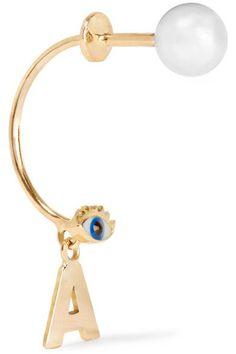 Delfina Delettrez | ABC 18-karat gold, pearl and enamel earring | NET-A-PORTER.COM