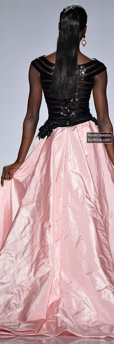 Amazing Evening Gown - Short Black sequined Dress and Floor Length Pink Skirting