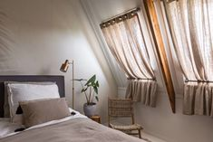 Home Bedroom, Bedroom Decor, Loft Conversion Bedroom, Guest Room Office, Woman Cave, Attic Rooms, Curtains With Blinds, New Room, House Rooms