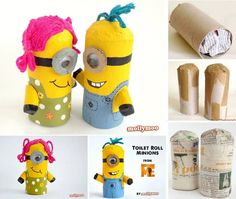 Minion Crafts Minion Surprise, Crafts To Make, Fun Crafts, Toilet Roll Craft, Toilet Paper Roll Crafts, Surprise Boyfriend, Surprise Sinterklaas, Minion Craft, Rolled Paper Art