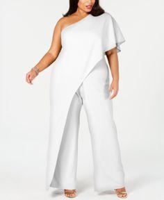 Adrianna Papell Plus Size Draped One-Shoulder Jumpsuit - Ivory/Cream 2 Plus Size White Jumpsuit, White Jumpsuit Formal, Plus Size Pants, Plus Size Dresses, Plus Size Outfits, Xl Mode, One Shoulder Jumpsuit, Wedding Jumpsuit, Online Shops