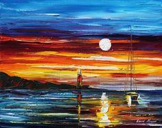 sunset sea painting