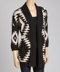 Love this Black & White Tribal Open Cardigan by Allie & Rob on #zulily! #zulilyfinds. I want it so bad!!