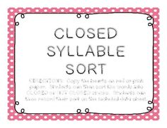 A Closed Syllable Sort Full of Love - FREE