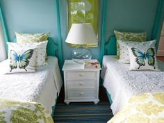 The tropical hues of sea glass inspire the color palette in this fun, children's bedroom where furnishings and accessories are easily changed to accommodate adults. http://www.hgtv.com/dream-home/hgtv-dream-home-2013-twin-suite-bedroom-pictures/pictures/page-10.html?soc=dhpp