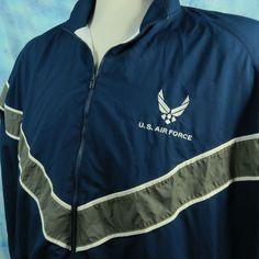 USAF AIR FORCE Mens XXXL Long Blue Reflective Windbreaker Warm Up PT Jacket 3XL #USAF #Windbreaker