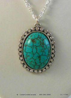 Turquoise Gemstone Pendant w/ Rhinestones in a Silver Plate Setting                  CC-11595
