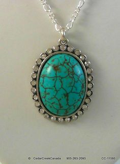 Turquoise Gemstone Pendant w/ Rhinestones in a Silver Plate Setting                  CC-11595