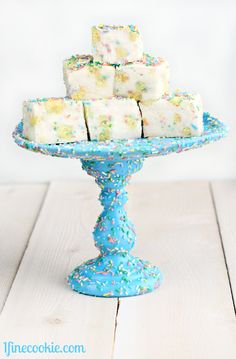 Funfetti cake batter marshmallows on a DIY sprinkle cake stand