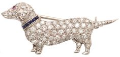 Gatsby, Downton, antique jewelry, Art Deco, puppy, dog, canine, animal, figural, DAchshund, platinum, rubies, diamonds, sapphires,