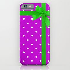 purple polka dot with green bow and ribbon phone case
