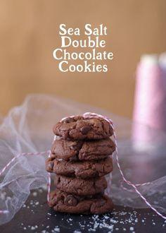 Sea salt double chocolate cookies - perfect for Christmas cookie swaps!   honeyandbirch.com