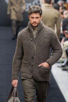 Men's hand knit garter stitch cardi, BANDofTAILORS, Etsy