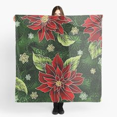 Green Christmas, Christmas Themes, Christmas Gifts, Floral Scarf, Red Green, Party Supplies, My Arts, Women's Fashion, Art Prints