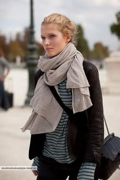 love the leather with the scarf and striped tee