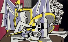 Roy Lichtenstein - Still Life with Palette: oil and Magna (plastic resin paint) on canvas, 60 x 95 5/8 inches 152.4 x 242.9 cm. (USA) ca.1972