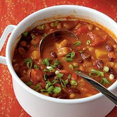 This blog has 4 healthy, yummy looking soup recipes for the crockpot. The bean soup is vegetarian.