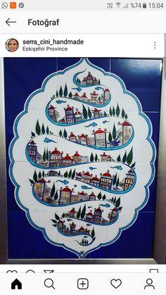 Turkish Tiles, Turkish Art, Islamic Wall Decor, Islamic Art, Tile Murals, Tile Art, Medieval Paintings, Islamic Gifts, Pottery Making