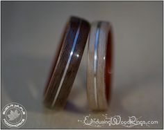 Wood Ring Set in Walnut and Beech with Silver inlay and Padauk liner - wood engagement ring - matching wedding rings - wedding bands for men