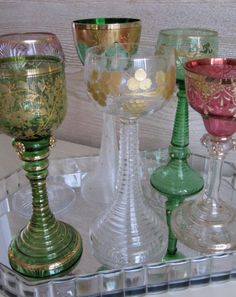 Collection of Five Rhenish Hock Glasses and One by billysbungalow