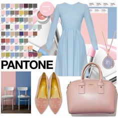 serenity blue dress by kc-spangler on Polyvore featuring Charlotte Olympia, Effy Jewelry, serenity, rosequartz, pantone and pantone2016