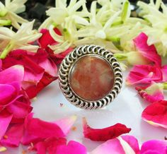 Silver Rings – Natural Sunstone 925 Sterling Silver Handmade Ring – a unique product by IndianCraftPalace on DaWanda
