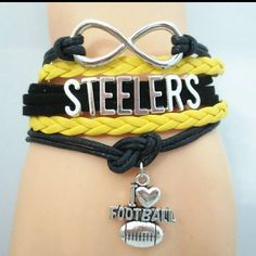"""Nwt  Pittsburgh  Steelers  infinity bracelet Great for that fan Infinity bracelet  With charm Metal Alloy Faux leather Wax cord Lobster clasp Fits from 7"""" to 11""""  Discount on bundles Jewelry Bracelets"""