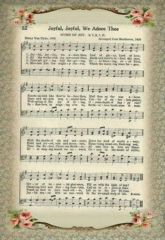 Free Printable Sheet Music of Hymn ~ Joyful Joyful We Adore Thee Hymns Of Praise, Praise Songs, Worship Songs, Church Songs, Church Music, Gospel Music, Music Lyrics, Gospel Lyrics, Printable Sheet Music