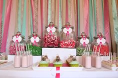 A dessert table for a girl who was celebrating her 13th birthday at home with friends.