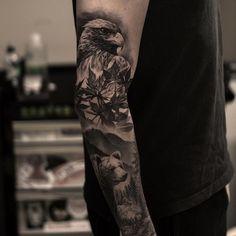 by Oscar Akermo #bird #hawk #bear #mountains #trees #nature #tattoo