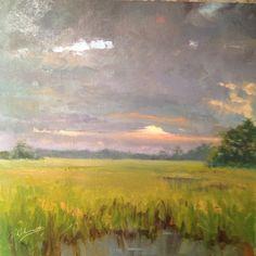 """Rain clouds over Kiawah"" 16x16#art #landscape #oilpainting #fineart #original…"