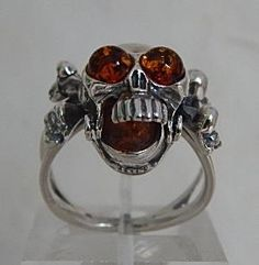 Amber Skull Ring in Sterling Silver - gaia rising metaphysical