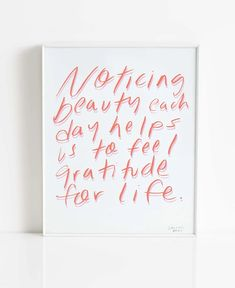 Notice Beauty (framed) – Maison Rainbow Hand Lettering Quotes, Positive Mindset, Giclee Print, Positivity, Rainbow, Day, Frame, Pretty, Life