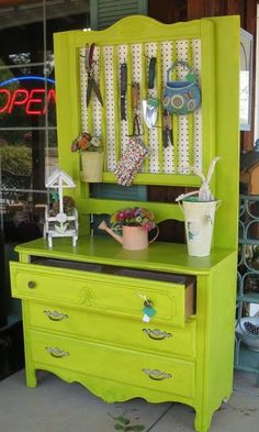 Replace the mirror with a peg board and you have a new nifty potting bench :)