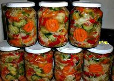 Csalamádé Hozzávalók: 3 kg kg kg kg… Hungarian Recipes, No Bake Cake, Preserves, Pickles, Cucumber, Mason Jars, Lime, Food And Drink, Stuffed Peppers