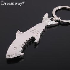 shark bottle opener keychain zinc alloy multifunction fish corkscrew key chains souvenirs gift key cover factory promotion